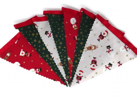 CHRISTMAS BUNTING   Stars Green - Santa Reindeer  - Red Ribbon - 3m - 14 flags (single-sided)